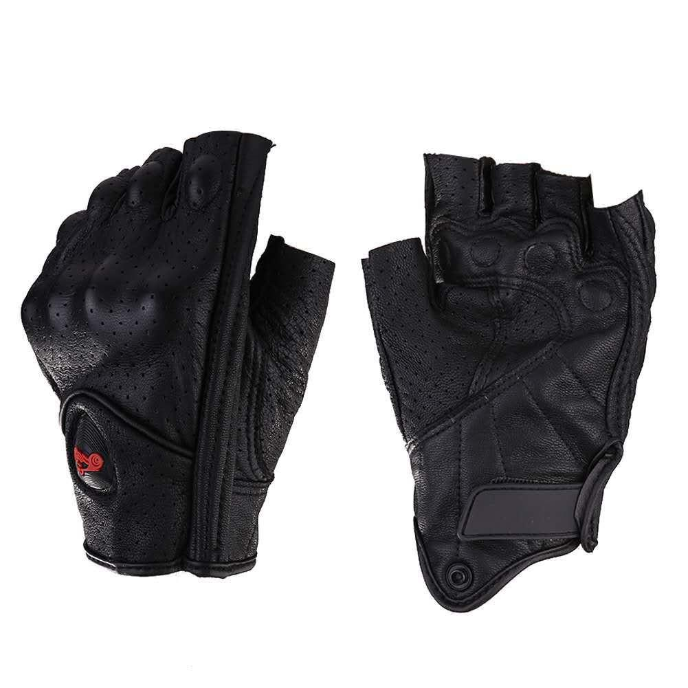 Motorcycle Gloves Leather Summer Breathable Half Finger Gloves Unisex Mitt Fingerless Glove For Men Women Scooter Moto Mitten-in Gloves from Automobiles & Motorcycles