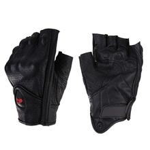 Motorcycle Gloves Leather Summer Breathable Half Finger Gloves Unisex Mitt Fingerless Glove For Men Women Scooter Moto Mitten