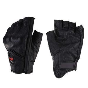 Image 1 - Motorcycle Gloves Leather Summer Breathable Half Finger Gloves Unisex Mitt Fingerless Glove For Men Women Scooter Moto Mitten