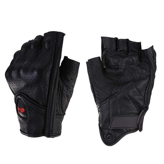 Motorcycle Gloves Leather Summer Breathable Half Finger Gloves Unisex Mitt Fingerless Glove For Men Women Scooter Moto Mitten