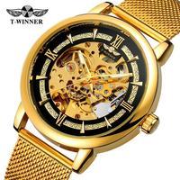 Top Brand Luxury Fashion 3D Engraving Golden Stainless Steel Watch Hollow Luxury Design Business Fashion Men Mechanical Watch F