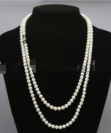 LIVRAISON GRATUITE Mlle charme Jew1022 mode femmes jewerly AAA 6-7mm blanc perles d'eau douce long collier 60