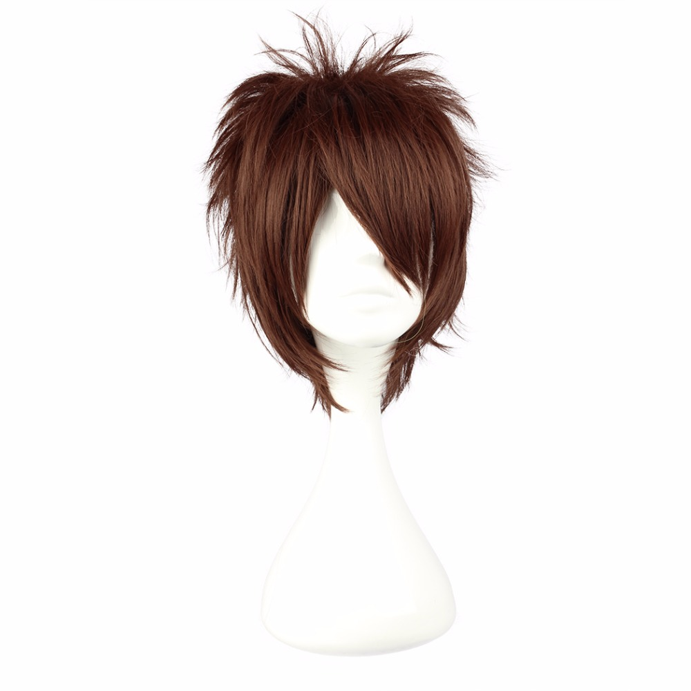 MCOSER Free Shipping 30Cm Short Brown Synthetic Cosplay Male Wig 100% High Temperature Fiber Hair WIG-238A