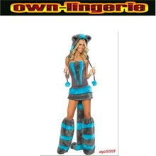 SEXY ANIMAL BEAR FANCY DRESS COSTUME OUTFIT WINTER FUR FAUX costume with leg warmer w1181