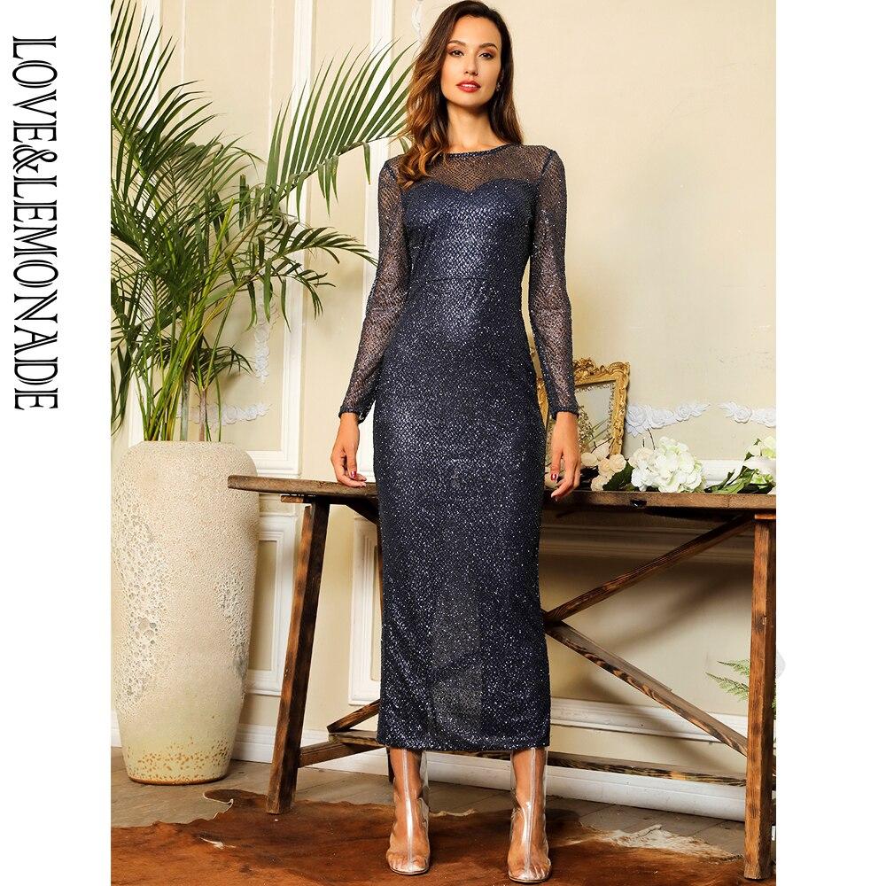Love Lemonade Navy 0-Neck Open Back Glued Material Mid-Calf Dress  LM81350NAVY 1c2e2a153a96