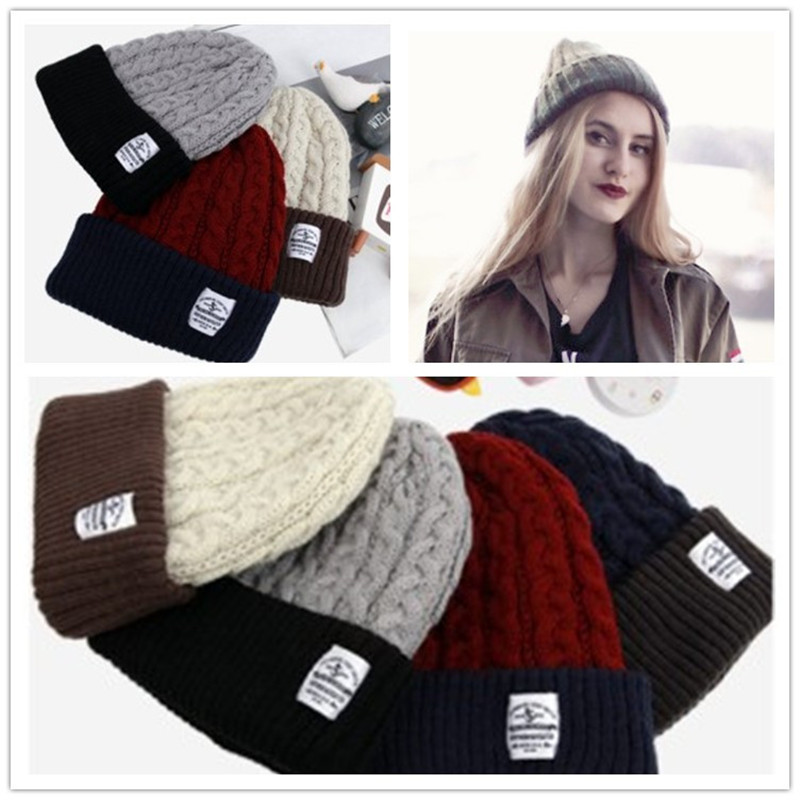 2016 Band New Korean Style Winter Men Knitted Hat Reversible Beanie for Women Unisex Baggy Warm Ski Skull Cap Patchwork Bonnets 2016 band beanies winter men knitted hat reversible beanie for new women unisex baggy warm skullies skull cap bonnets gorros