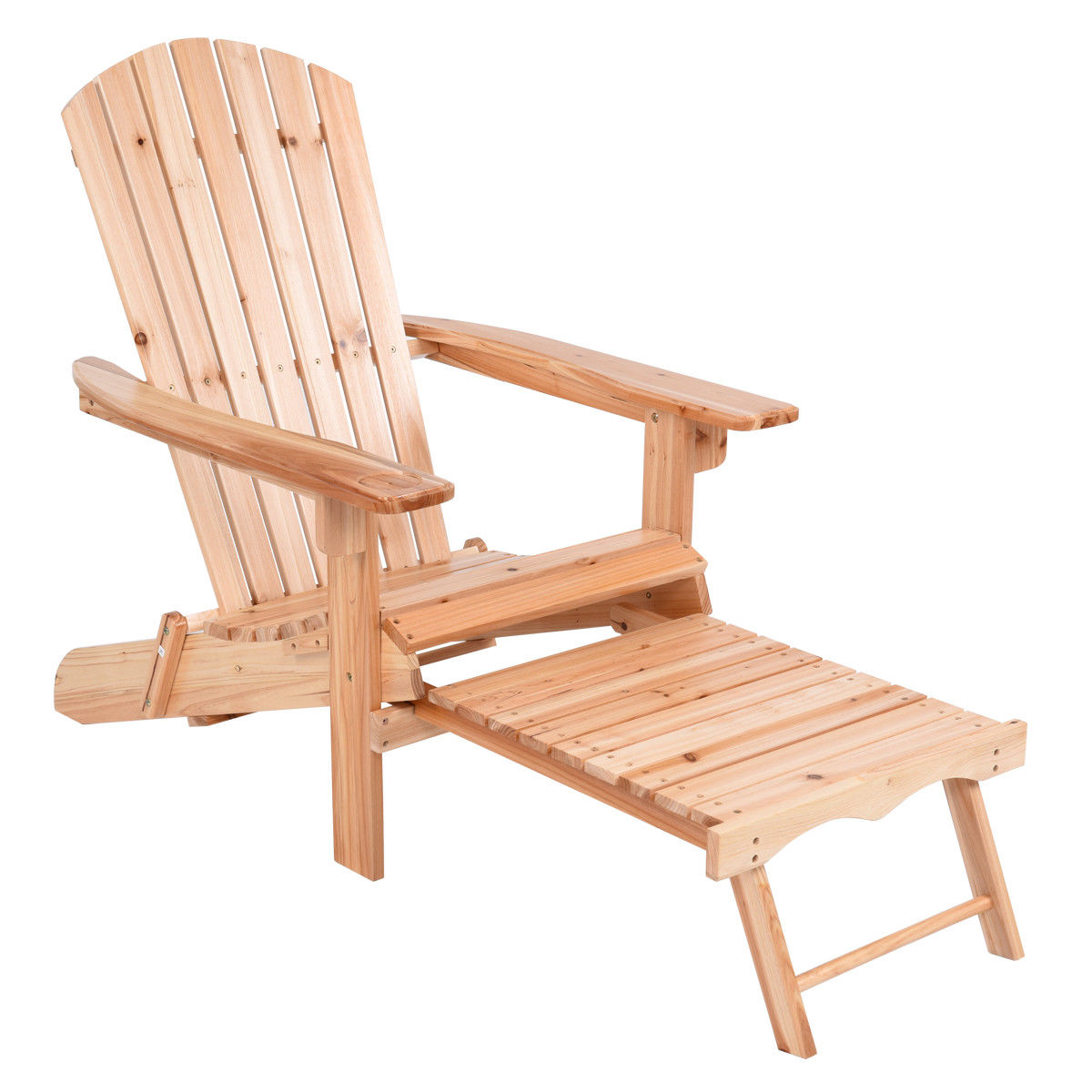 Giantex Foldable Adirondack Chair Wood with Removable Ottoman Patio Deck Garden Chairs Modern Outdoor Furniture HW56973 ...