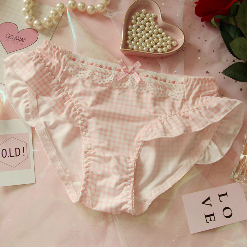 TOMORI Womens Cute Lace Panties Lolita Girls Chiffon Japanese Underwear Milk Silk Briefs