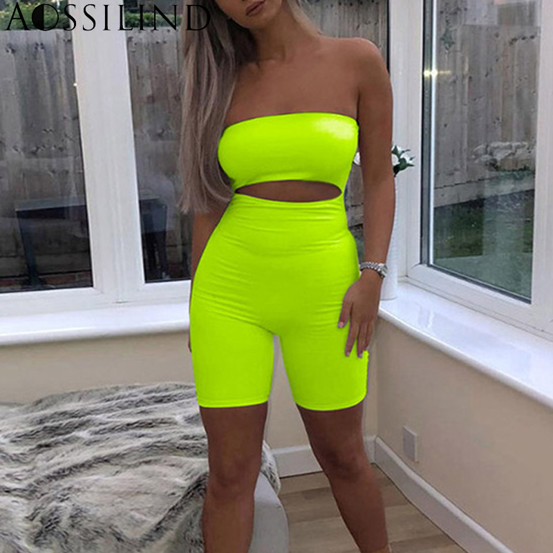 AOSSILIND Strapless Sexy Hollow Out Playsuit Women Off Shoulder Skinny Rompers   Jumpsuit   Ladies Club Backless Bodycon Overalls