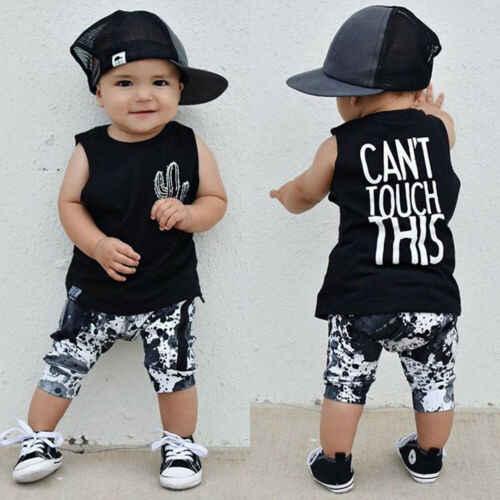 2 pcs เด็กทารกแรกเกิดเด็กแคคตัสพิมพ์รถถังเสื้อกั๊กกางเกงขาสั้นกางเกงฤดูร้อนชุดเสื้อผ้า