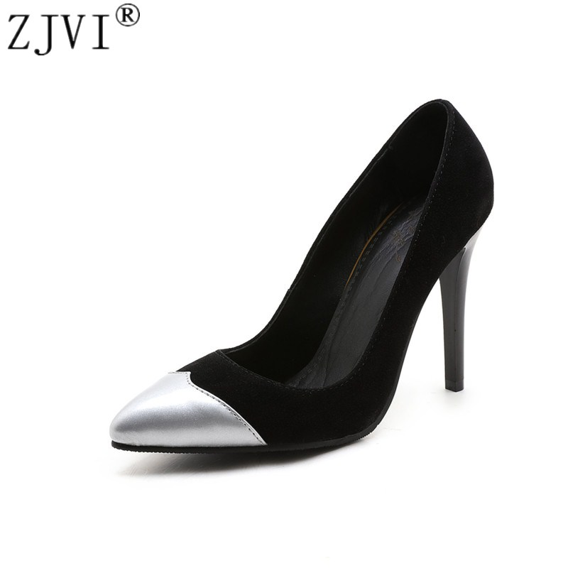 ZJVI woman pointed toe Thin high heels pumps women gold sliver mixed colors 2018 spring autumn shoes womens ladies party Pumps new 2017 spring summer women shoes pointed toe high quality brand fashion womens flats ladies plus size 41 sweet flock t179