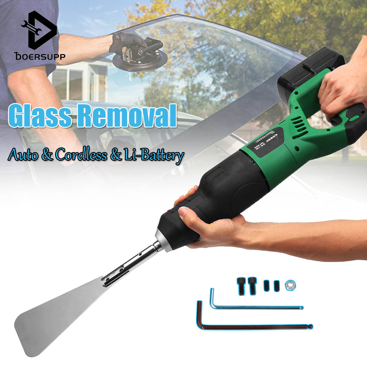 Rechargeable Electric Cordless Glass Cutter Tools Profession Car Windshield Glass Removal Cut Out Tool Kit Extractor Repair Tool handy wristwatch screen glass removal tool blue silver