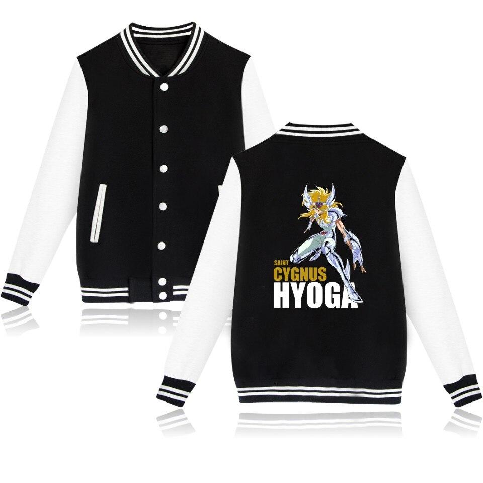 2017 Funny Cartoon Printed Jacket Men and Women Baseball Jackets Gold Saint Seiya Anime Coats Fashion Streetwear clothing