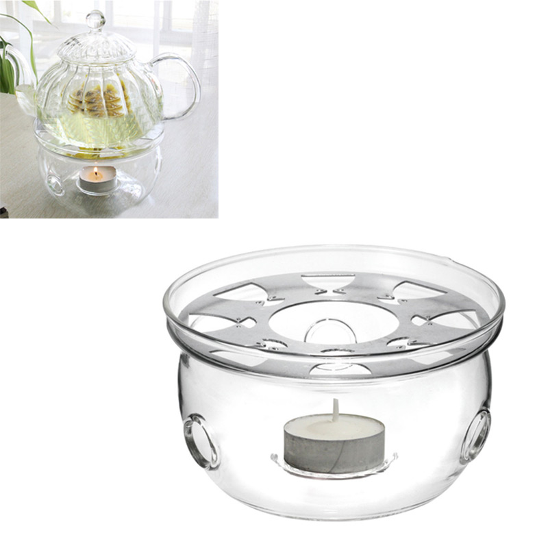 1pc Clear Glass Heat-Resisting Teapot Warmer Insulation Base Portable Teapot Holder Base Coffee Water Tea Warmer Candle Holder