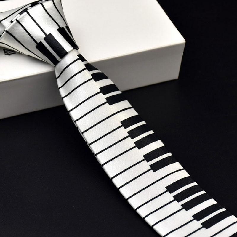 Men Black & White Piano Keyboard Necktie Tie Classic Slim Music Tie Personalized Piano Neckties