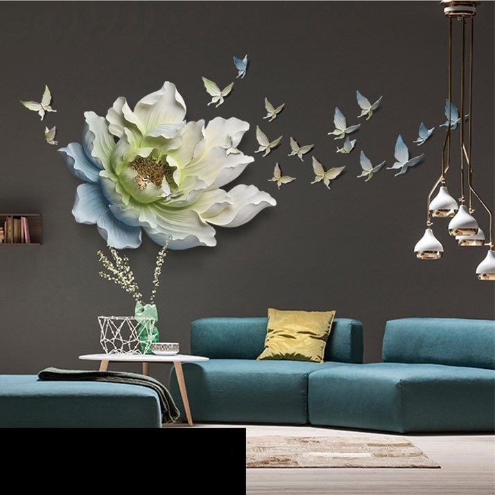 3D Stereo Wall Hanging Resin Flower+Butterfly Home Decoration Crafts Restaurant Hotel Wall Ornament Livingroom Sofa Mural Decor - 3