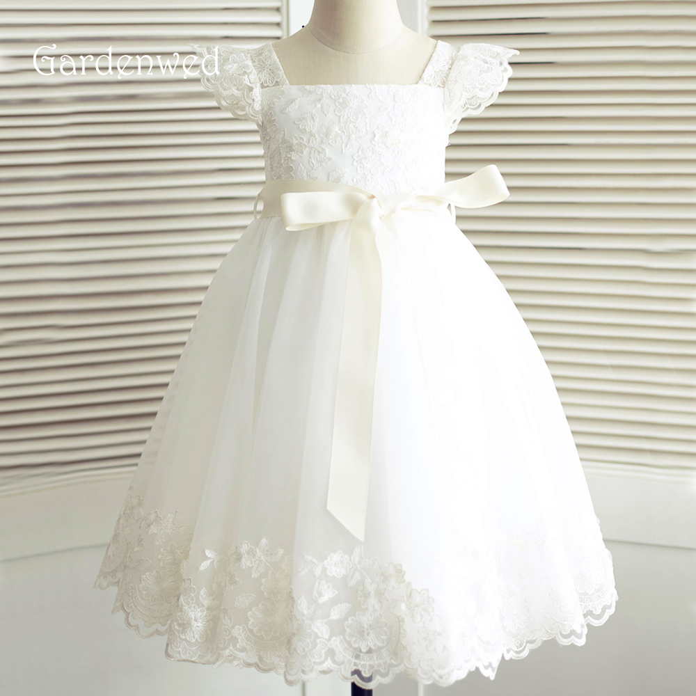 Gardenwed 2019 White Lace   Flower     Girl     Dresses   Cap Sleeves Ribbon Little   Girls   Kids/Children   Dress   for Wedding