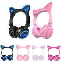 Mindkoo Bluetooth 4 2 Wireless Cat Ear Headphone LED Flashing Glowing Cat Ear Earphone Gaming Headset