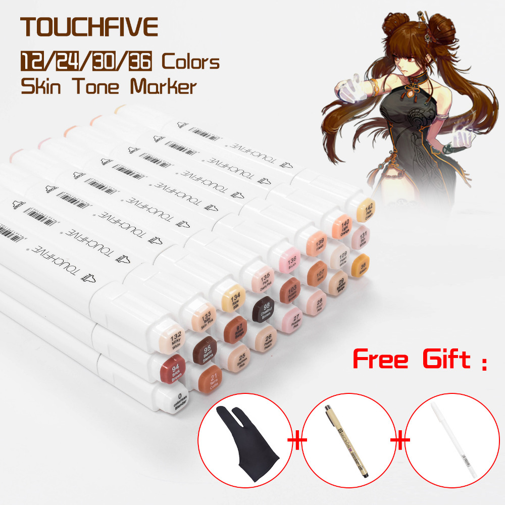 TOUCHFIVE Skin Tones Marker Pen Set 24/30/36 Colors Professional Dual Tip Alcohol Based Sketch Markers Art Supplies with 3 Gifts