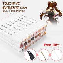 Touchfive tons de pele marcador caneta conjunto 24/30/36 cores profissional ponta dupla álcool baseado marcadores esboço arte suprimentos com 3 presentes