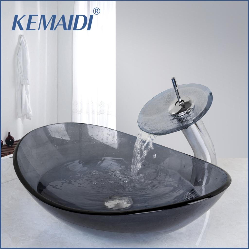 KEMAIDI Gray Washroom Basin Vessel Vanity Sink Bathroom Mixer Tempered Glass Basin Sink Washbasin Faucet Set