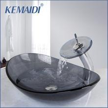 KEMAIDI, lavabo gris, lavabo, lavabo de tocador y Mezclador de Baño, lavabo de vidrio templado, lavabo, grifo de lavabo, Set con drenaje