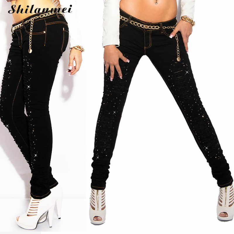 Hip hop jeans Fashion torn frayed ripped fly biker jeans women long denim trousers Rhinestone black pants mujer feminino 2017 xl