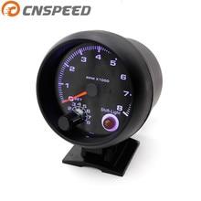 """Тахометр 3 3/"""" черный цвет 0-8000 об/мин датчик с межсменный светильник синий светодиодный автомобильный измеритель гоночный измеритель YC100139"""