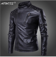 Leather Jackets Men Spring New Criss Cross Strings Punk Leather Jackets Plus Size 5XL Vintage Motorcycle