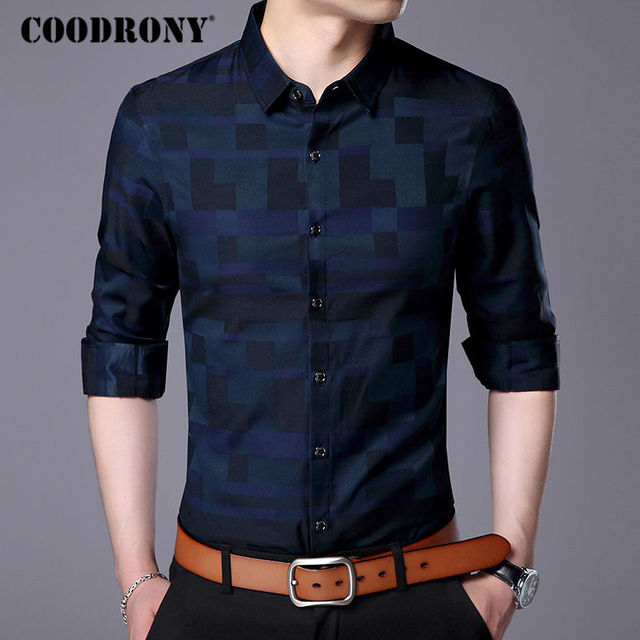 Mens Business Casual Shirts New Arrival Famous Brand Clothing Plaid 1