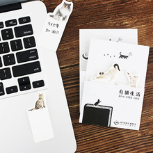 48 pcs/Lot Cartoon cat sticky note Live with cat memo pad sticker diary Stationery Office planner tools School supplies CM677 8 pcs cute cat sticky note set 30 page memo pads diary stickers planner guestbook kawaii stationery office school supplies f044