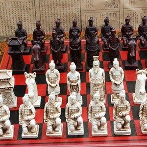 Image 2 - قطعة شطرنج جديدة مصنوعة من خشب التيراكوتا الصيني الكلاسيكي شطرنج قطعة شطرنج كبيرة الحجم مصنوعة من الراتنج