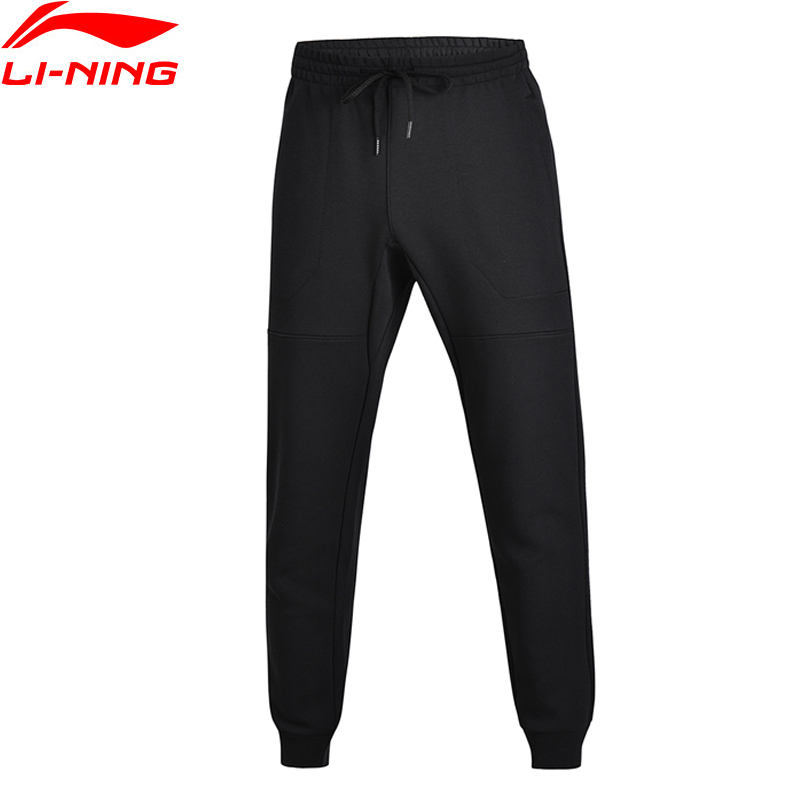 Li-Ning Men Wade Regular Fit Knit Sweat Pants Interlock 66%Cotton 34%Polyester Comfort LiNing Sports Pants AKLM677 MKY316 original li ning men professional basketball shoes