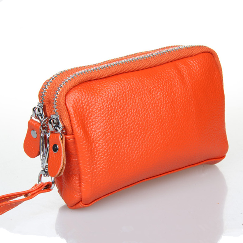 Double Zipper Layer Cowhide Ladies Women Coin Purses beautiful wallets Genuine Leather womens cltuch bags with wrist strap