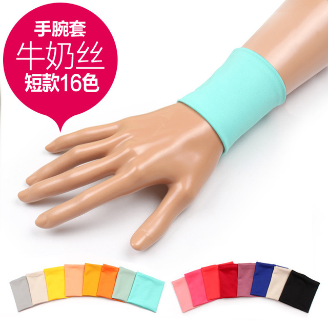 Cotton wrist support wrist length sleeve oversleeps milk silk sports wrist support fingerless gloves