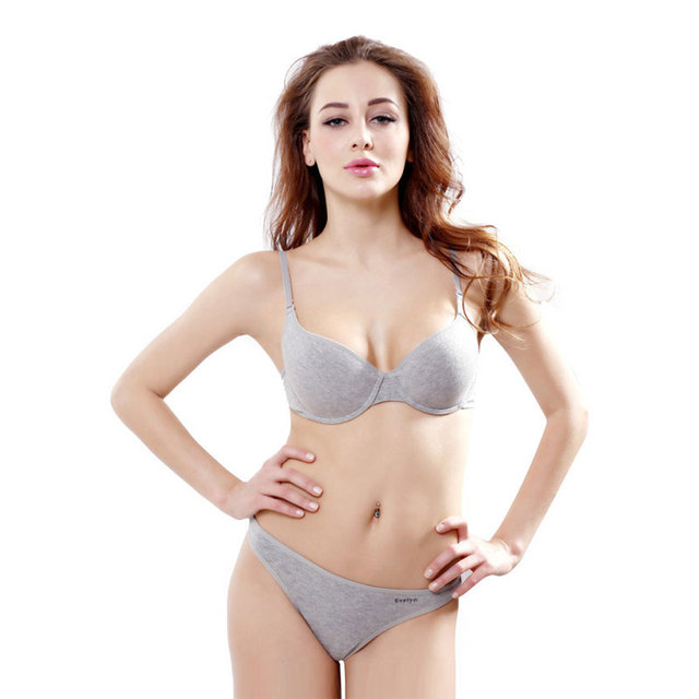 6d556ea6a0c7 CINOON women intimates gray Cotton underwear Top quality bra and panty set  push up bralette brassiere lingerie female set