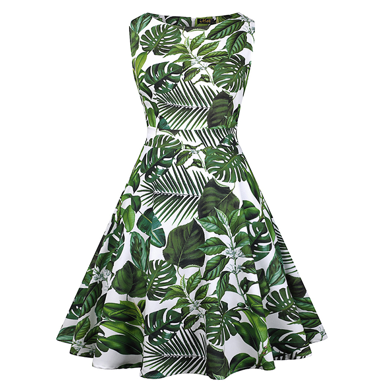 best service hot product beautiful design US $27.44 41% OFF|Sisjuly vintage dress women summer sleeveless green print  party o neck leaves fashion evening formal dresses gilrs 2019 new-in ...