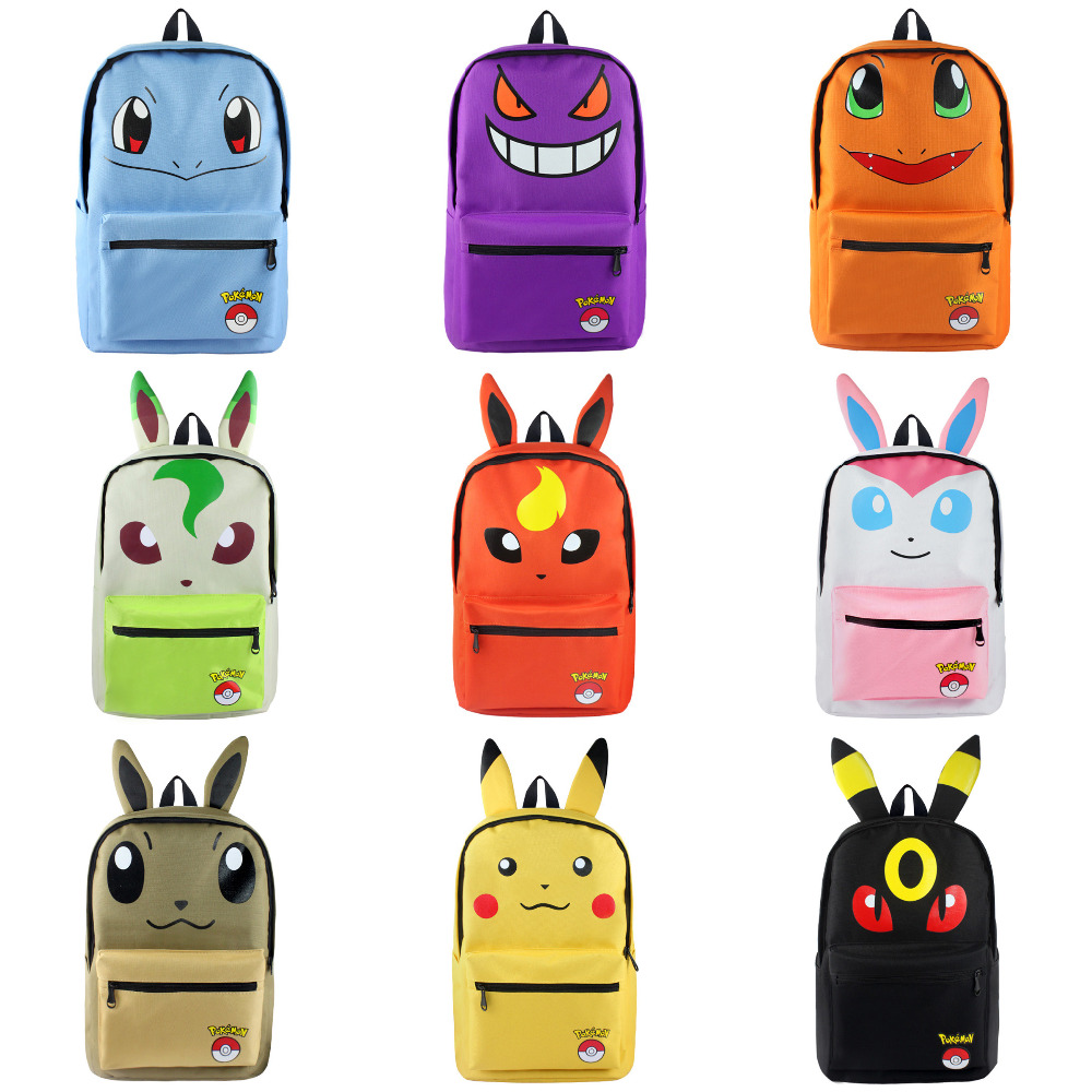 где купить Less Is More: Anime Pocket Monster Pikachu Eevee Umbreon Canvas Solid Color Laptop Backpack/Double-Shoulder School Bag по лучшей цене