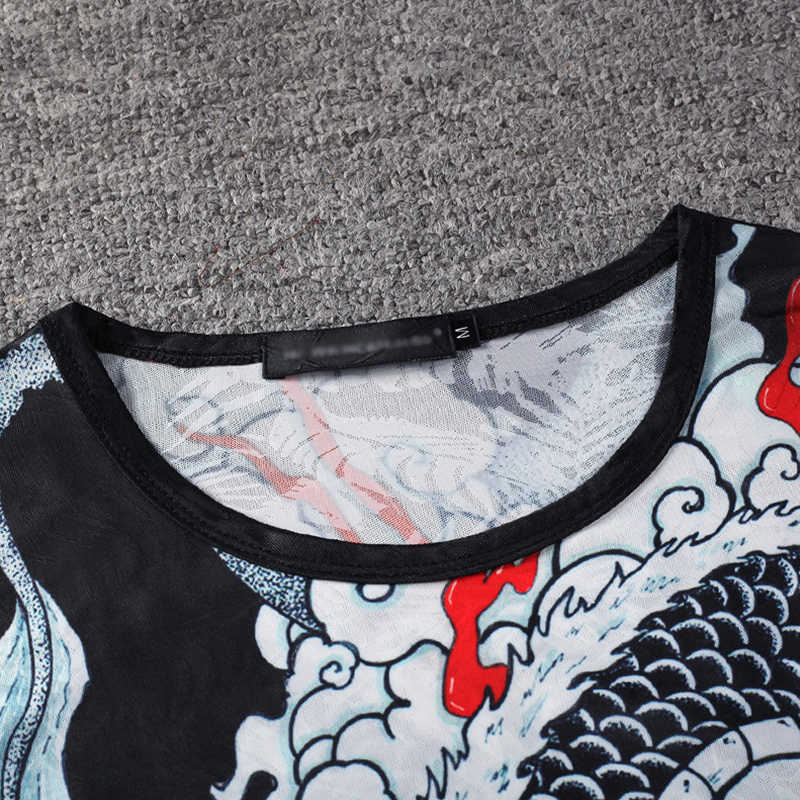 2019 летние мужские футболки в стиле хип-хоп в винтажном китайском стиле 3d футболка с принтом китайского дракона Harajuku уличная одежда большого размера мужские топы