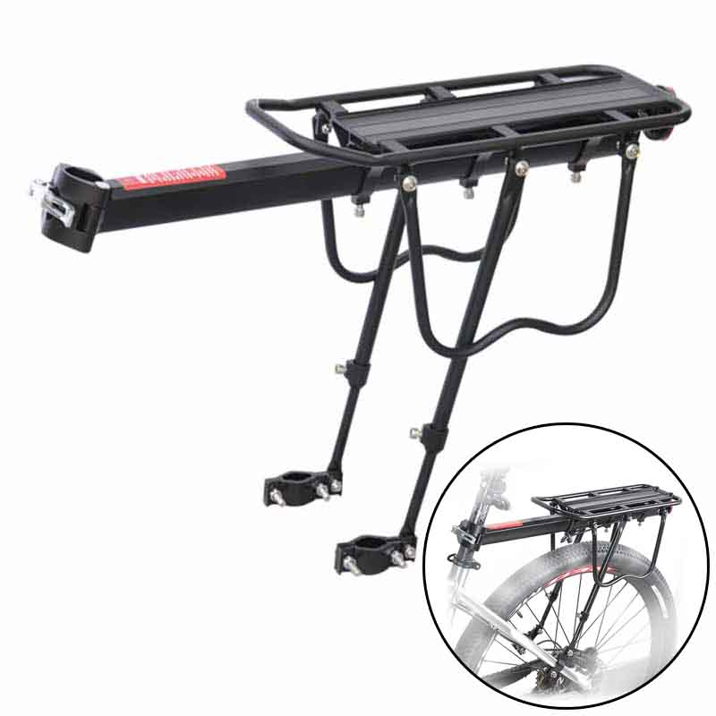 Black Bicycle Bike Rear Rack Quick Release Luggage Seat Aluminum Alloy Frame Pannier Carrier Holder Mount Bicycle Accessories