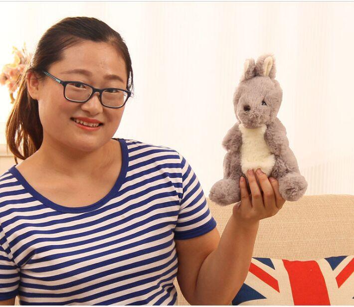 small cute plush kangaroo toy high quality gray kangaroo doll gift about 25cm