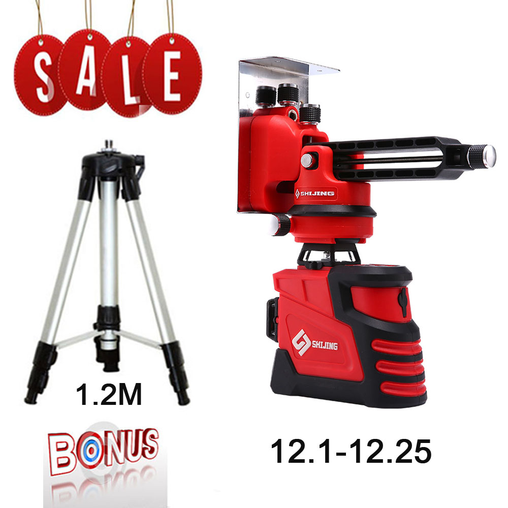 Laser Level 12 lines 3D Self Leveling 360 Horizontal And Vertical Super Powerful Laser level green Beam SHIJING laser leveler-in Laser Levels from Tools    1