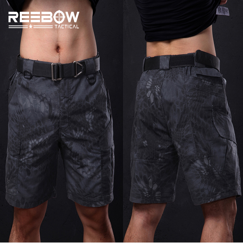 REEBOW Tactical Military Fans Outdoor Camouflage Shorts Men Summer Python Camo Knee Length Shorts Airsoft Shooting