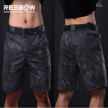 REEBOW Tactical Military Fans Outdoor Camouflage Shorts Men Summer Python Camo Knee Length Shorts Airsoft Shooting Paintball