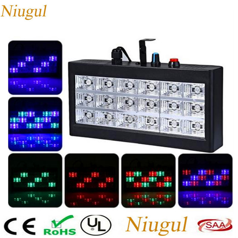 Niugul Lighting Sound Auto Speed adjustable Led Stage DJ Lights 18pcs RGB Strobe Ball Disco Flash Light Club Party Stage Effects