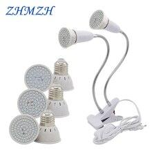 E27 светодиодная лампа для выращивания растений лампа 110 В 220 В Гибкая с двумя головками клип лампа для выращивания 60 80 светодиодный s база Гидропонные лампы для роста полный спектр