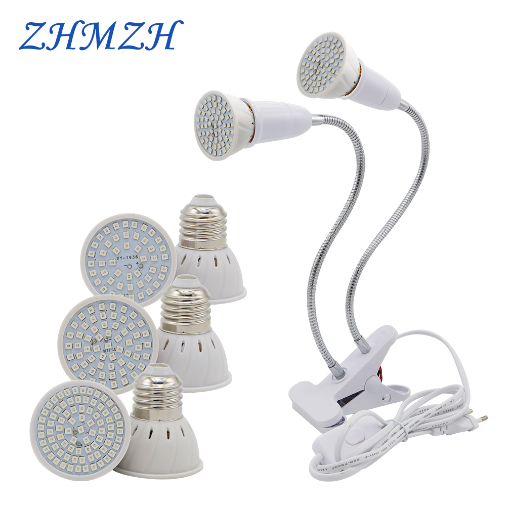 E27 LED Plant Growing Lamp Bulb 110V 220V Flexible Two Head Clip Grow Lamp 60 80LEDs Base Hydroponic Growth Lights Full Spectrum