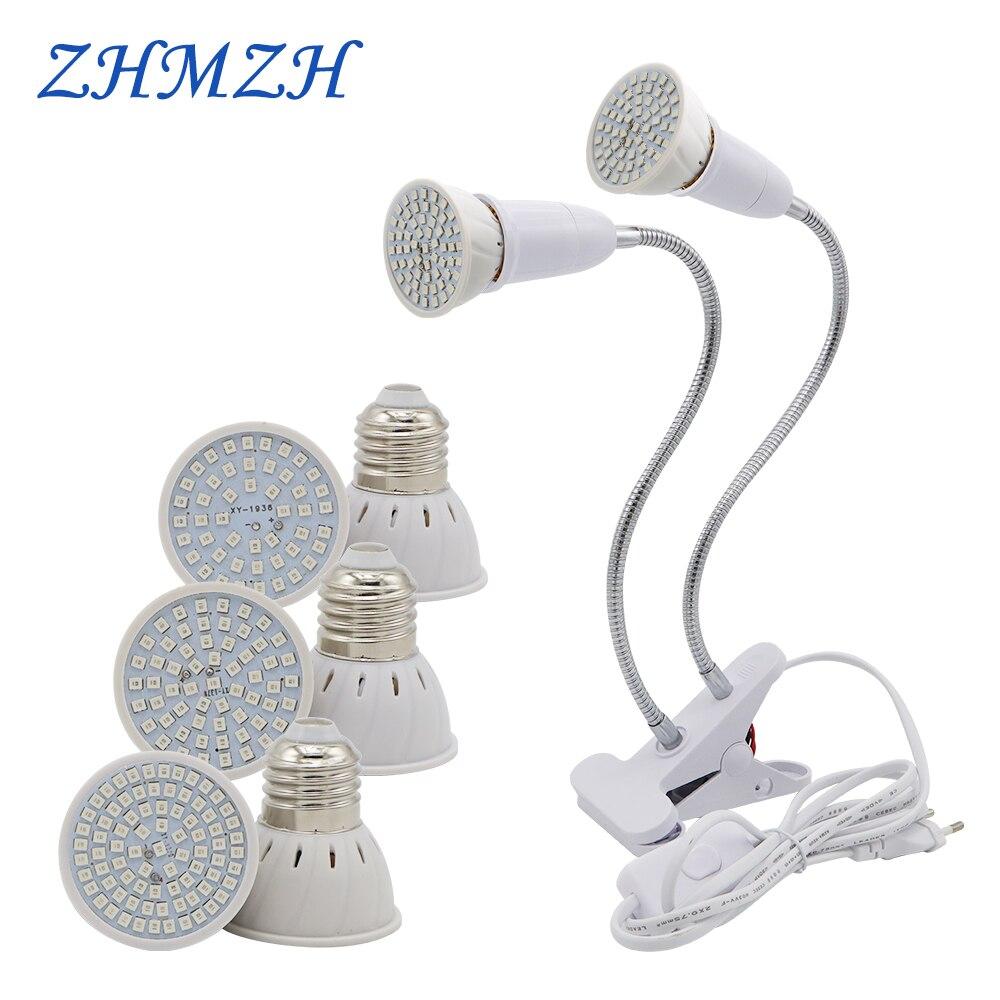 E27 LED Plant Growing Lamp Bulb 110V 220V Flexible Two Head Clip Grow Lamp 60 80LEDs Base Hydroponic Growth Lights Full Spectrum