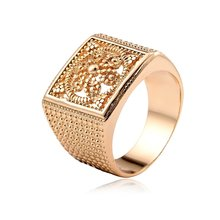 Square Cut Out Geometric Stamp totem Yellow Gold Color Ring For Men Jewelry Bague anillos(China)