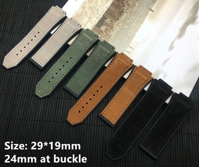 a80fdab7b13 29 19mm Natureza cinta faixa de relógio de borracha de silicone pulseira de  couro de